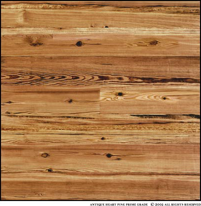 Antique Heart Pine Prime Grade is a dense grain, 98-100% heartwood. A mixture of plainsawn and vertical grains with greater than 60% vertical grain. Occasional knots ranging up to one inch. Nail holes are small and very infrequent. This grade has been selected for a more consistent color. The photo is a sample about four square feet.