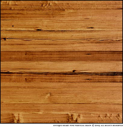 New Heart Pine Cottage Grade heartwood content can vary from 0 - 100%. While large knots are permissible and more frequent, some boards are free of knots. The photo is a sample about  four square feet.