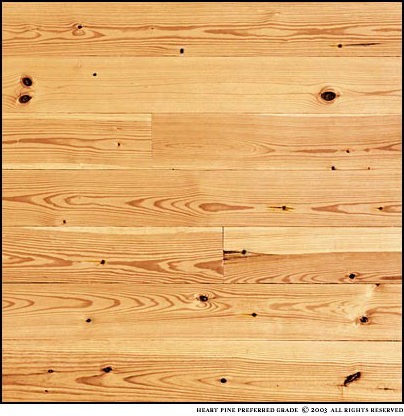 New Heart Pine Preferred Grade has a heartwood content of 80 - 100%. Knots are small and infrequent. A mixture of vertical and plain sawn grains. The photo is a sample about four square feet.