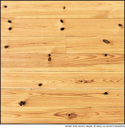 New Heart Pine Select Grade has a heartwood content of 50 - 100%. Knots range from small to large and are more frequent. A mixture of plain sawn and vertical grains. The photo is a sample  about four square feet.