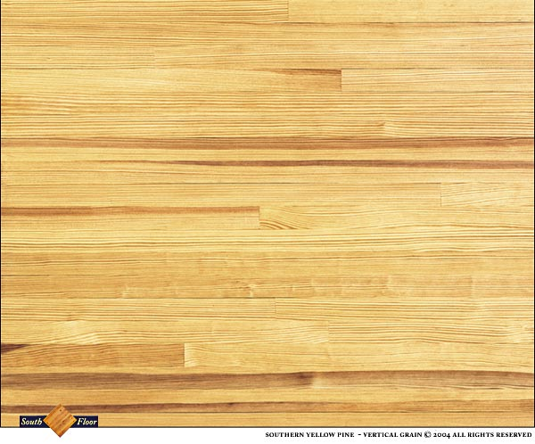 Southern Yellow Pine Vertical Grain is not graded for heart content but will contain occasional heart boards. A very uniform pinstripe grain. 99% knot free. The photo is a sample about four square feet